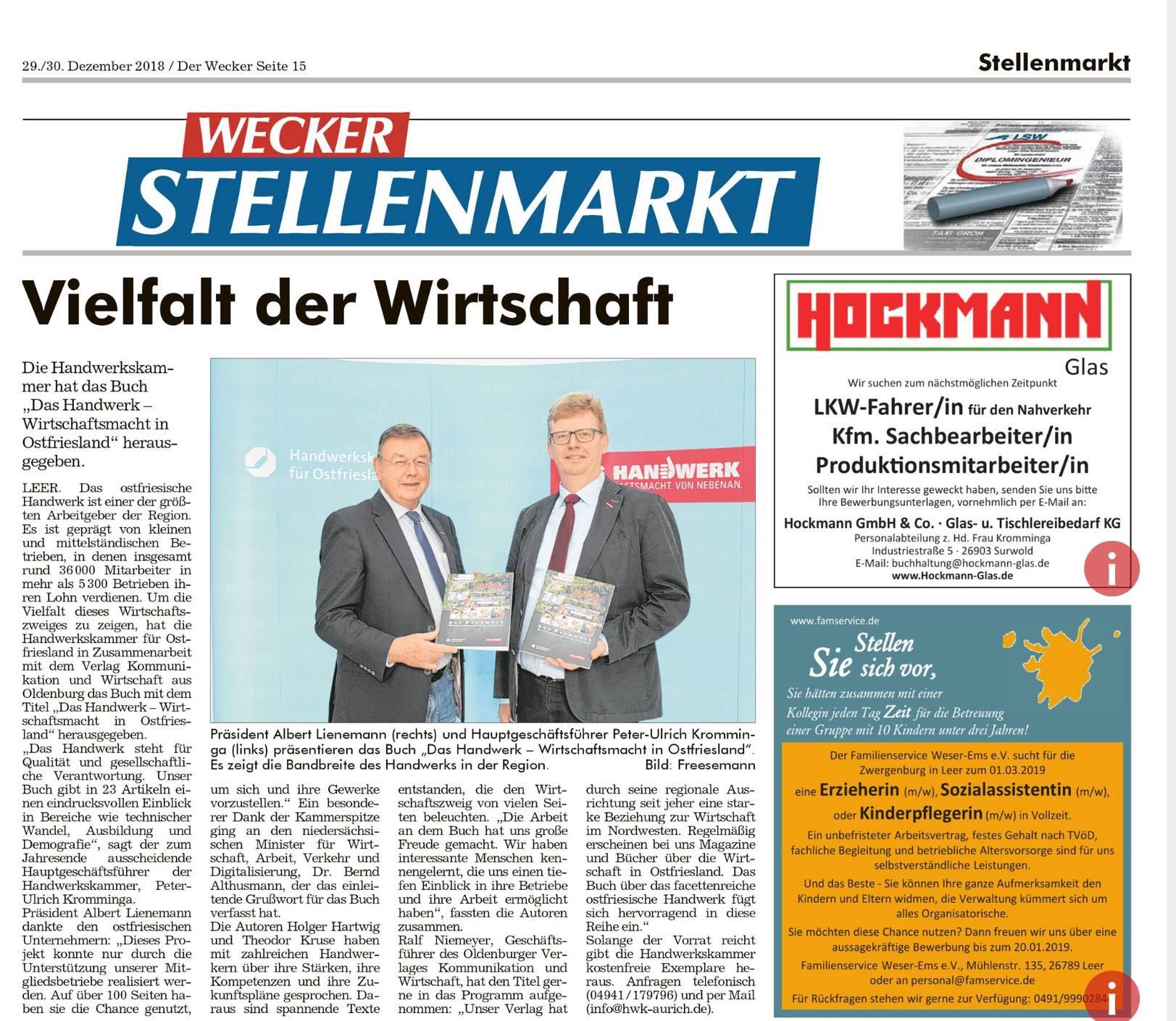 """Bericht im """"Wecker"""""""